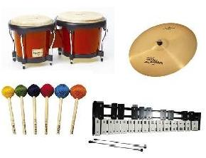 Bongos, cymbal, assorted mallets, bell kit